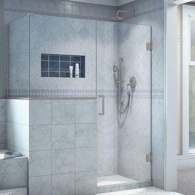 "DreamLine Unidoor Plus 45"" x 40.38"" x 72"" Rectangle Hinged Shower Enclosure Finish: Brushed Nickel"