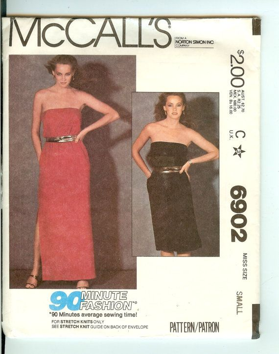 Dress Vintage Sewing Pattern McCalls 6902 Size 10-12 For knits only ...