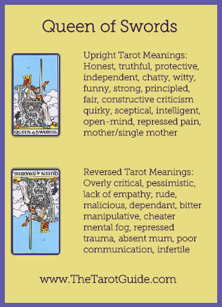 Queen of Swords Tarot Flashcard showing the best keyword