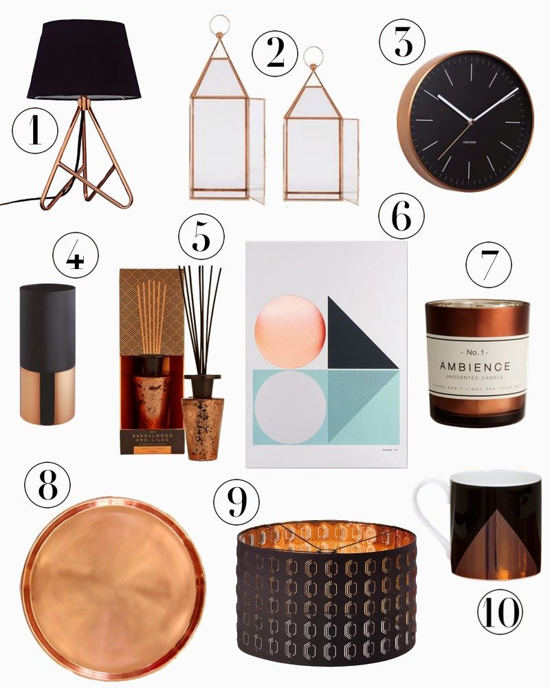 round up of copper & black accessories on the blog today ...