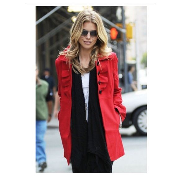 Old Navy Ruffle Red Pea Coat Brand new never been worn.  Very stylish coat as seen worn by Kristin Cavallari and AnnaLynn McCord.   Sold out in store and online.  Ruffled details in the front. Old Navy Jackets & Coats Pea Coats