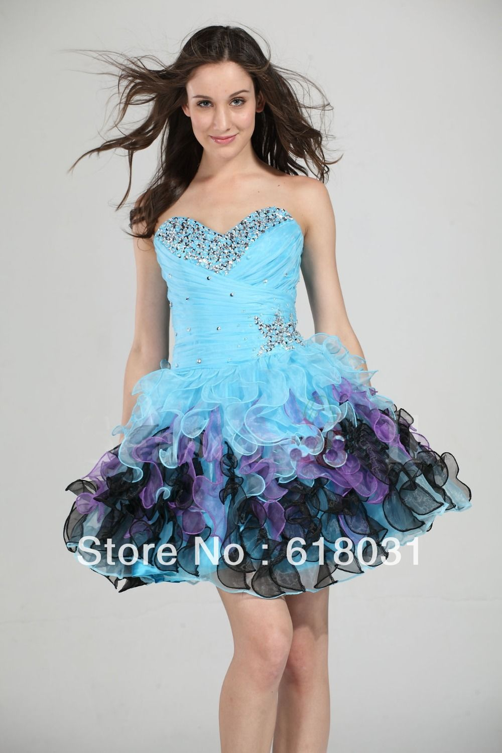 short ruffle prom dresses multi colored - Google Search | dresses ...