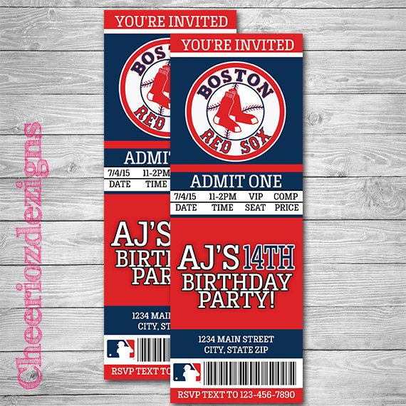 Boston Red Sox Ticket Invitation Baseball Invitation  Red Sox