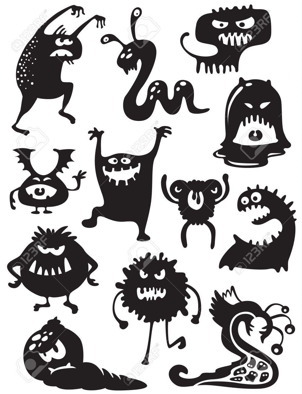 Stock Vector Doodle monster, Halloween doodle, Halloween