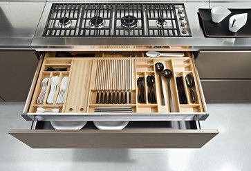 Shallow Drawer Inside A Deeper Drawer Daily Utensils On Top W Silver B Kitchen Drawer Organization Contemporary Kitchen Cabinets Contemporary Kitchen Design