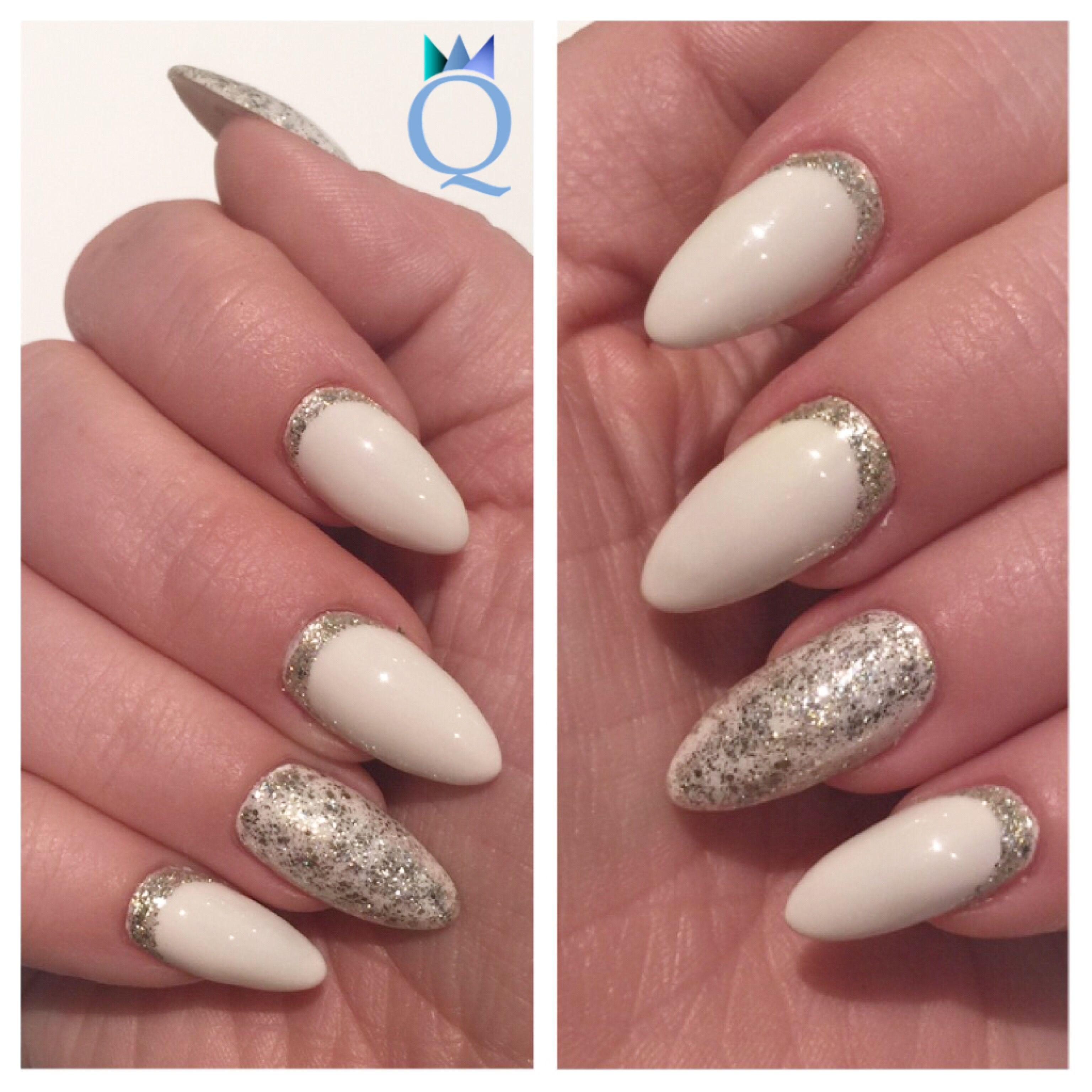 almondshape #gelnails #nails #softwhite #akyado #silver #glitter ...