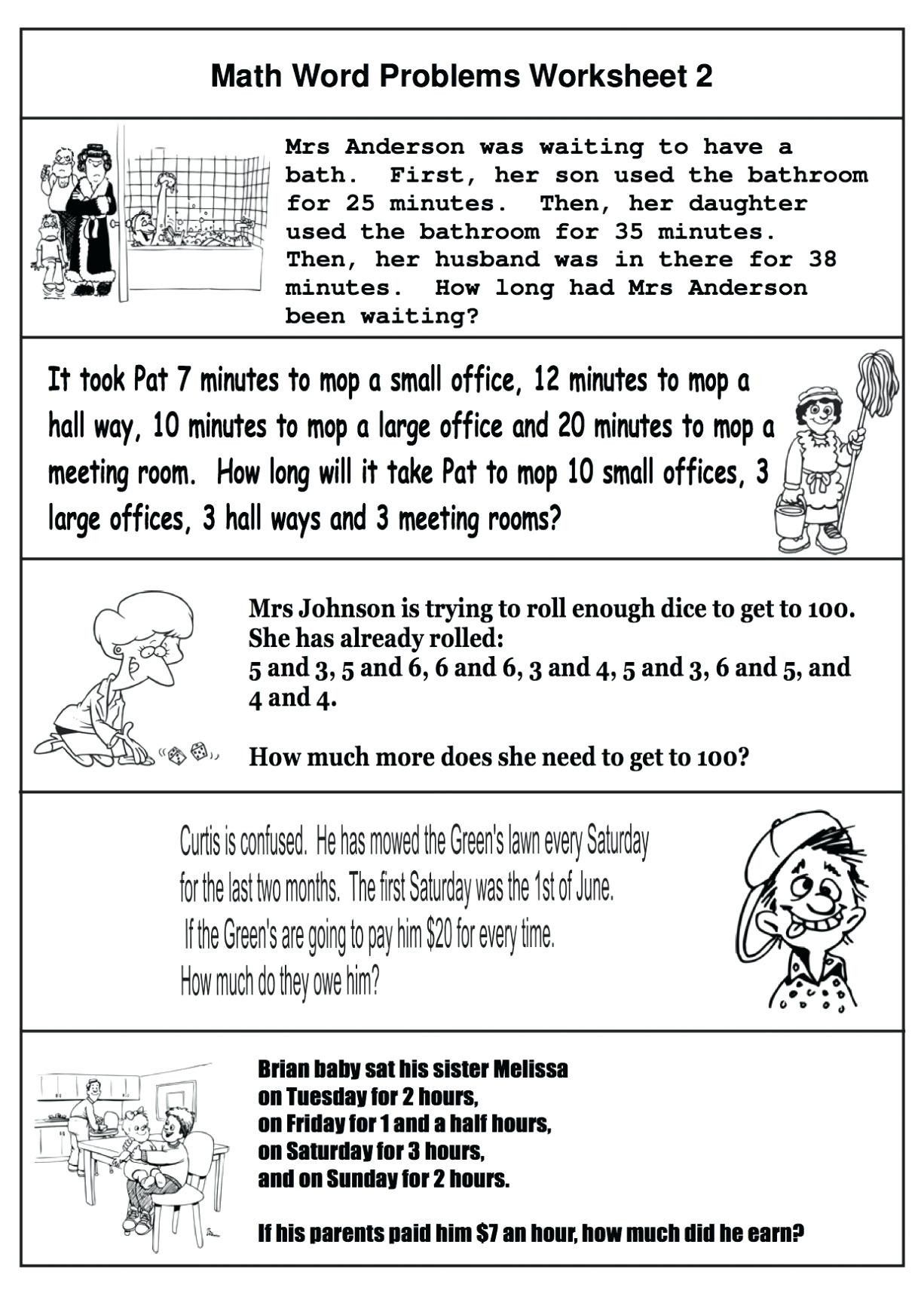 4 Free Math Worksheets Third Grade 3 Addition Word