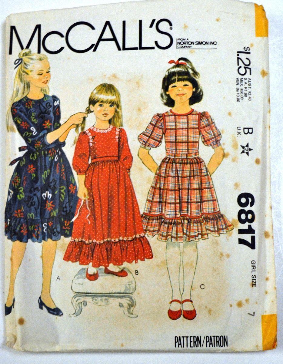 Vintage 1979 sewing pattern mccalls 6817 girls ruffled edge vintage 1979 sewing pattern mccalls 6817 girls ruffled edge dress size 7 breast 26 inches jeuxipadfo Choice Image