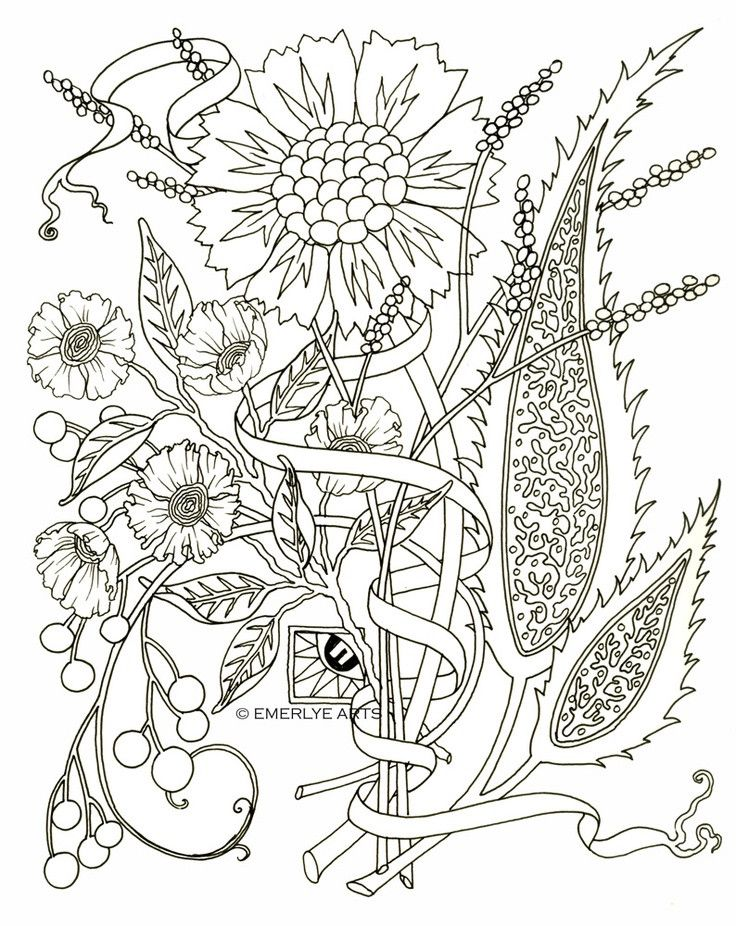 Flower Coloring Pages for Adults in 2020 | Flower coloring ...
