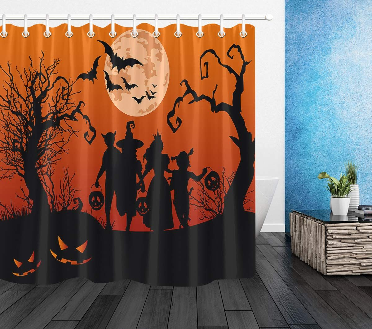 Halloweenshowercurtain LB Black Orange Scary Forest In Moon Night Shower Curtains For Bathroom Halloween Themed