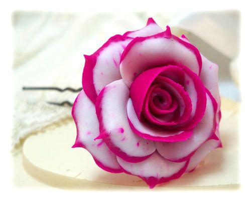 rose pink and white rose hair pins