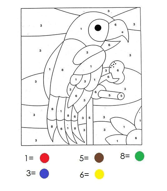kleuren op nummer werkbladen kleuters