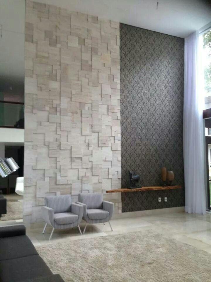 Muitas vezes Sala pé direito alto textura parede madeira rústico | Home Room  BF67