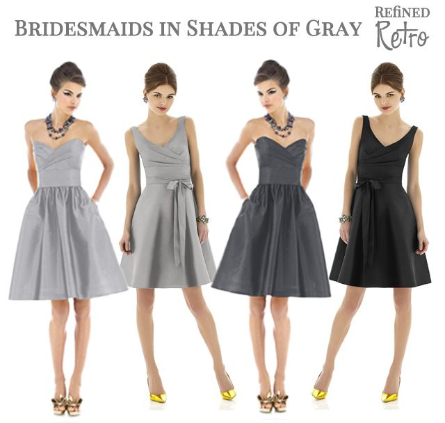 Gray Bridesmaid Dresses - Refined Retro Bridesmaid Style - Silver ...