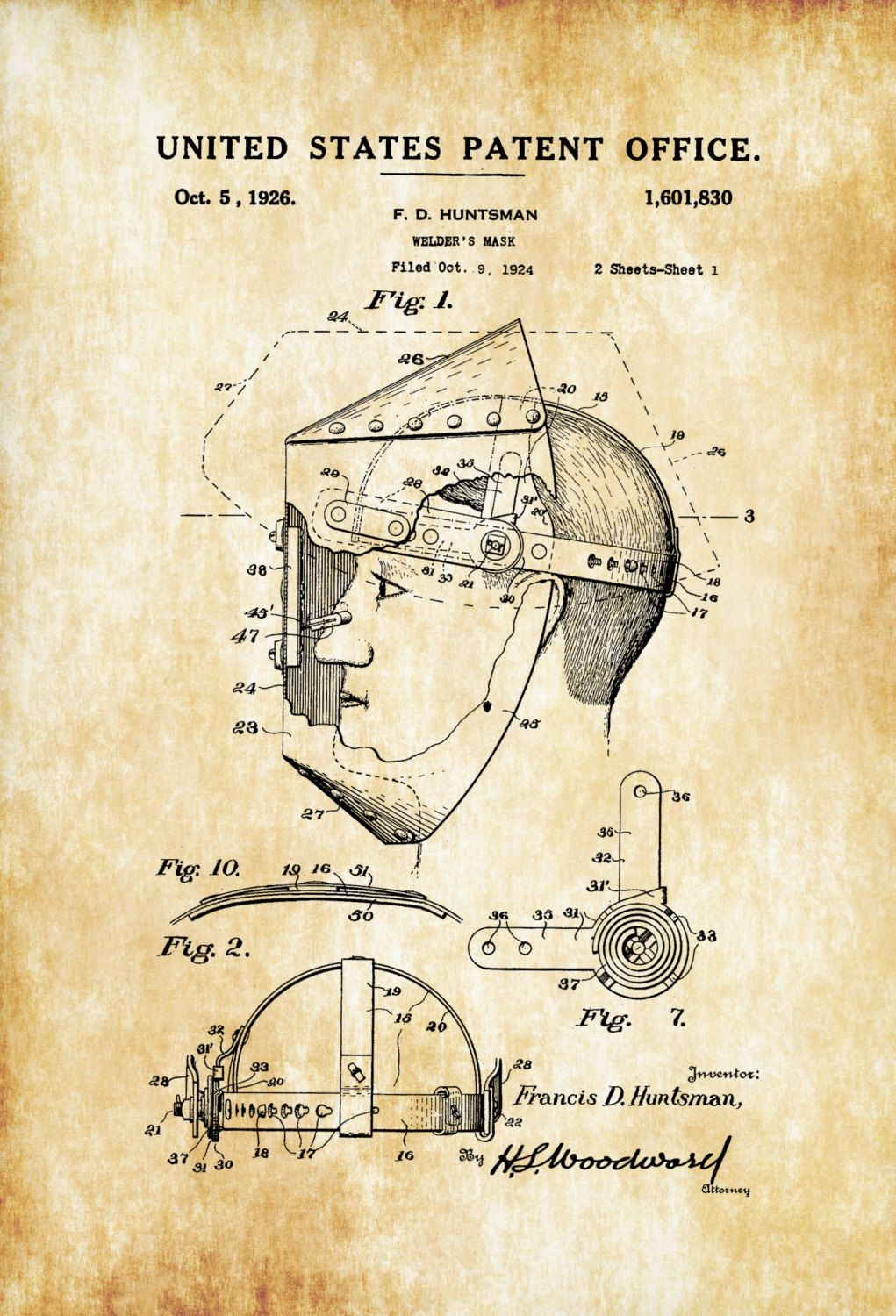 hight resolution of a patent print poster of a welder s mask invented by f d huntsman the patent was issued by the united states patent office on october 5 1926
