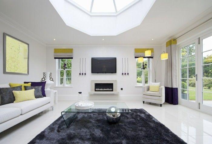 flauschiger wohnzimmer teppich in dunkler farbe Einrichtungsideen - einrichtungsideen wohnzimmer beige