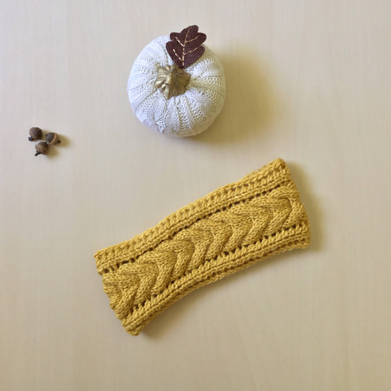Yellow Knit Ear Warmer, Cable Knit Headband, Handknit Ear Warmer ...