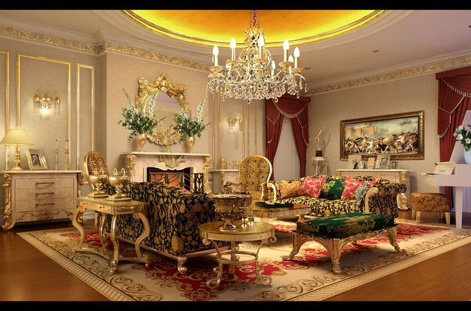 extraordinary european style living room design 3d house free pictures | deluxe european living room 1718 3d model max 1 ...