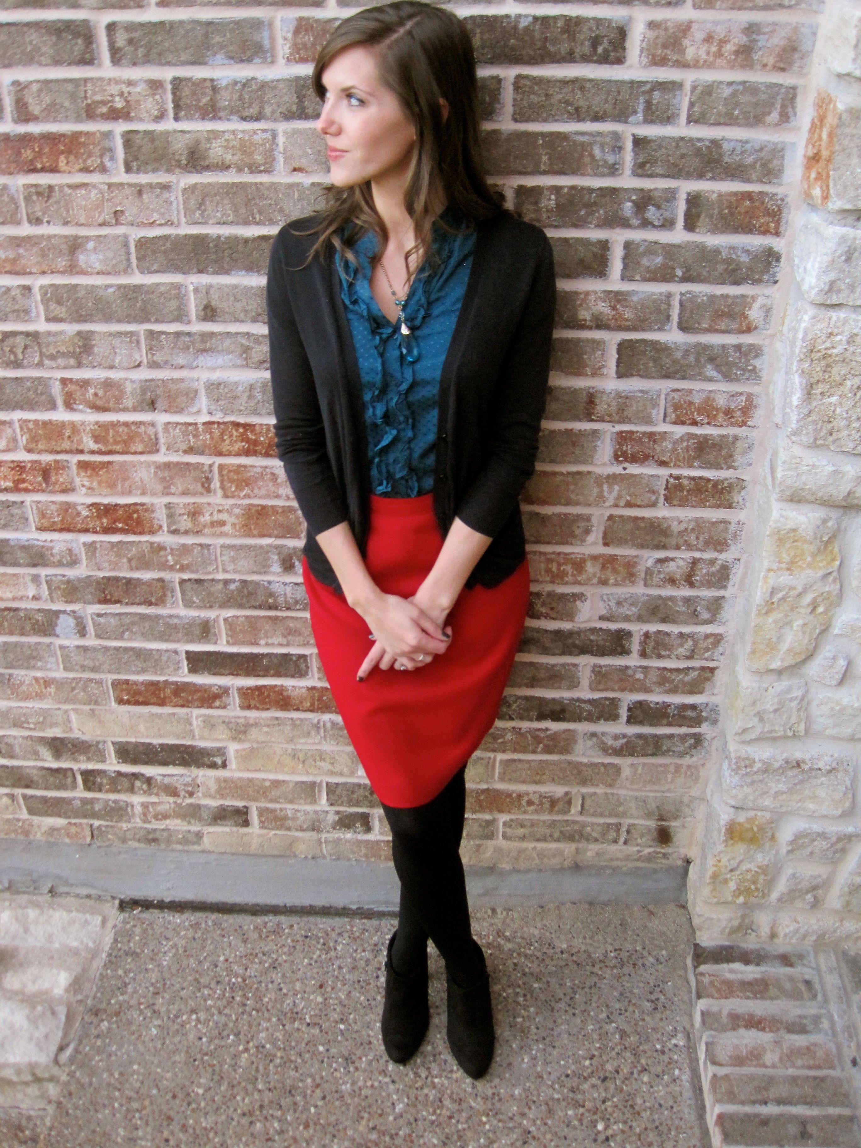 Red skirt, teal blouse, black cardigan (red   teal color block ...