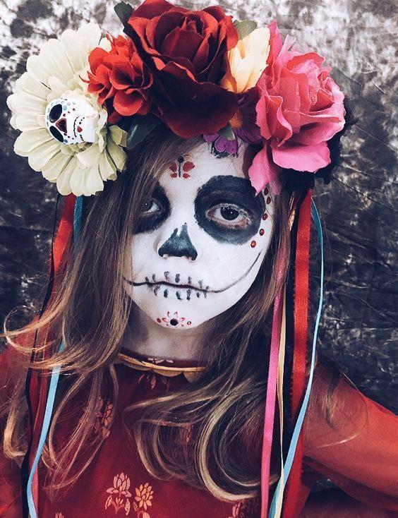 Kids: 10 einfache Halloween-Make-up-Ideen – Dia de los muertos – #Dia #einfache …