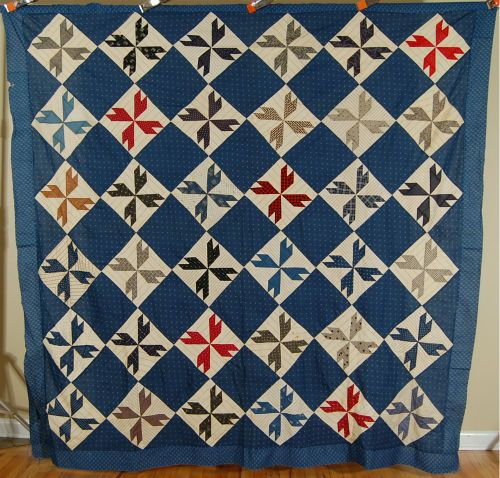 1880-039-s-Vintage-034-Crow-039-s-Foot-034-Patchwork-Antique-Quilt-Top-NICE-BLUE-BACKGROUND