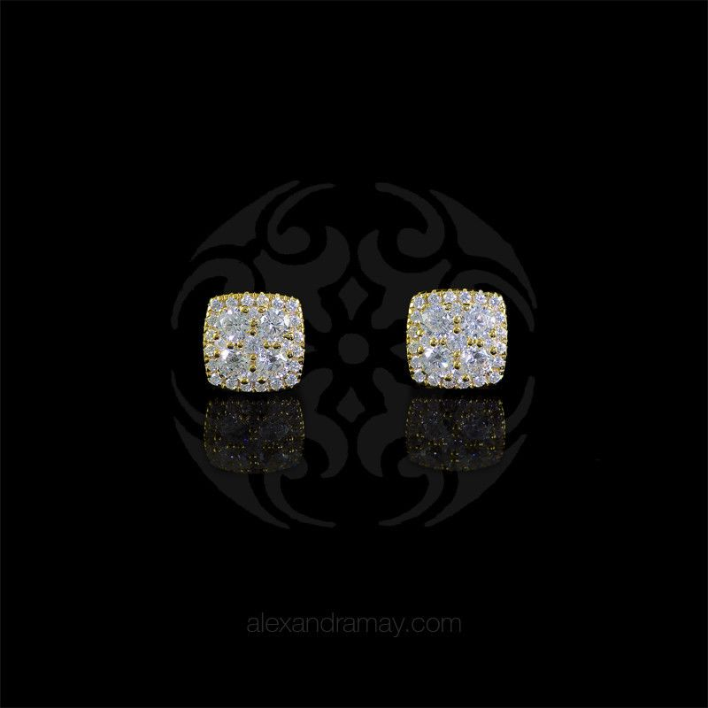 Lustre of london yellow gold square cluster stud earrings ea17cvy