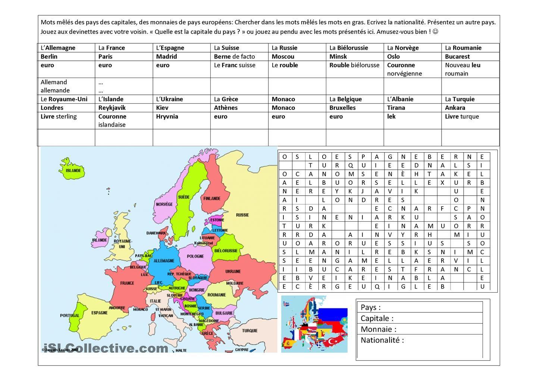 Pays D Europe Capitales Monnaies