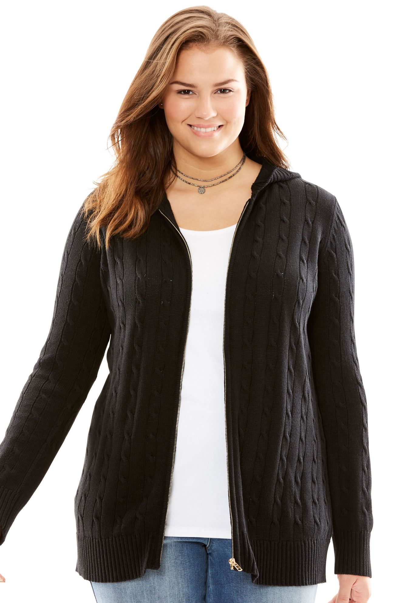 0404219ee4e7da Cable Knit Zip-Front Cardigan - Women's Plus Size Clothing ...