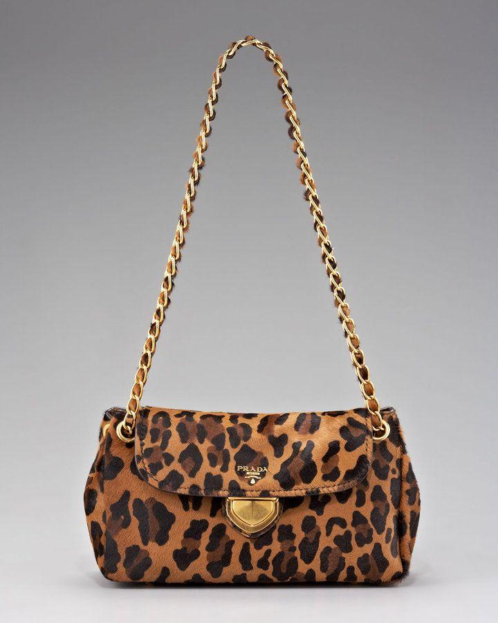 3af57669f11240 Prada Cavallino Leopard-Print Hair Calf Chain Bag for Sale | Prada ...