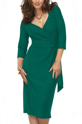 """5 of 8 Photo: Courtesy of Avenue Full-Figured  """"Big clothes on big bodies only make you look bigger,"""" says O creative director Adam Glassman. In other words, don't hide in tons of fabric or frills—accentuate your shape in this rich emerald wrap dress designed for sizes 14 and up that cinches you in and defines your waist. Three-quarter-length sleeves camouflage arms, but a V-neckline shows just the right amount of sexy skin.    $53,"""