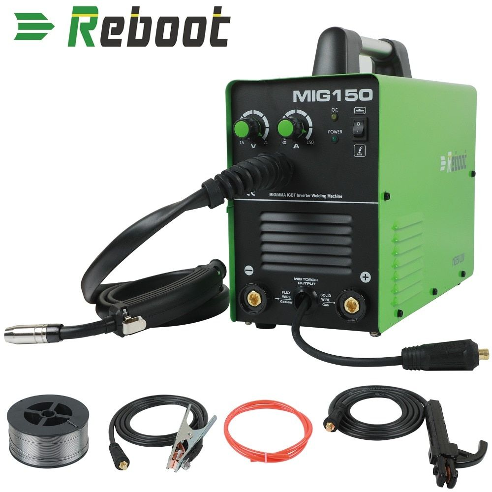 MIG Welder MIG-150 Gas//No Gas DC 220V 2 in 1 Flux Core Wire Inverter Welding Machine MMA MIG MAG IGBT Inverter Welder