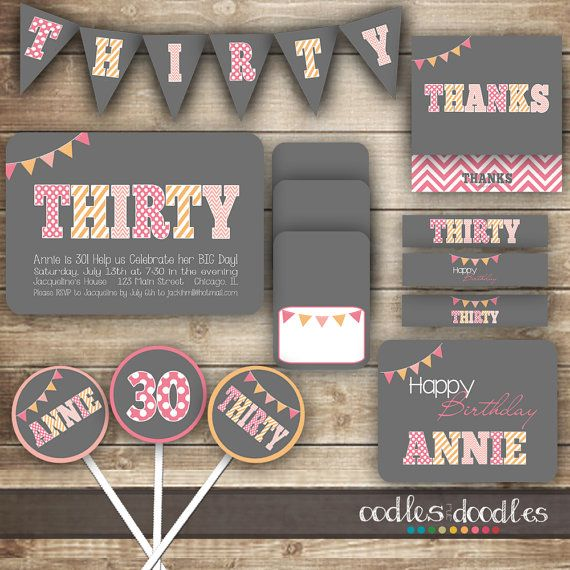 30th Birthday PARTY PACKAGE Thirtieth Pink By OandD Party For Her