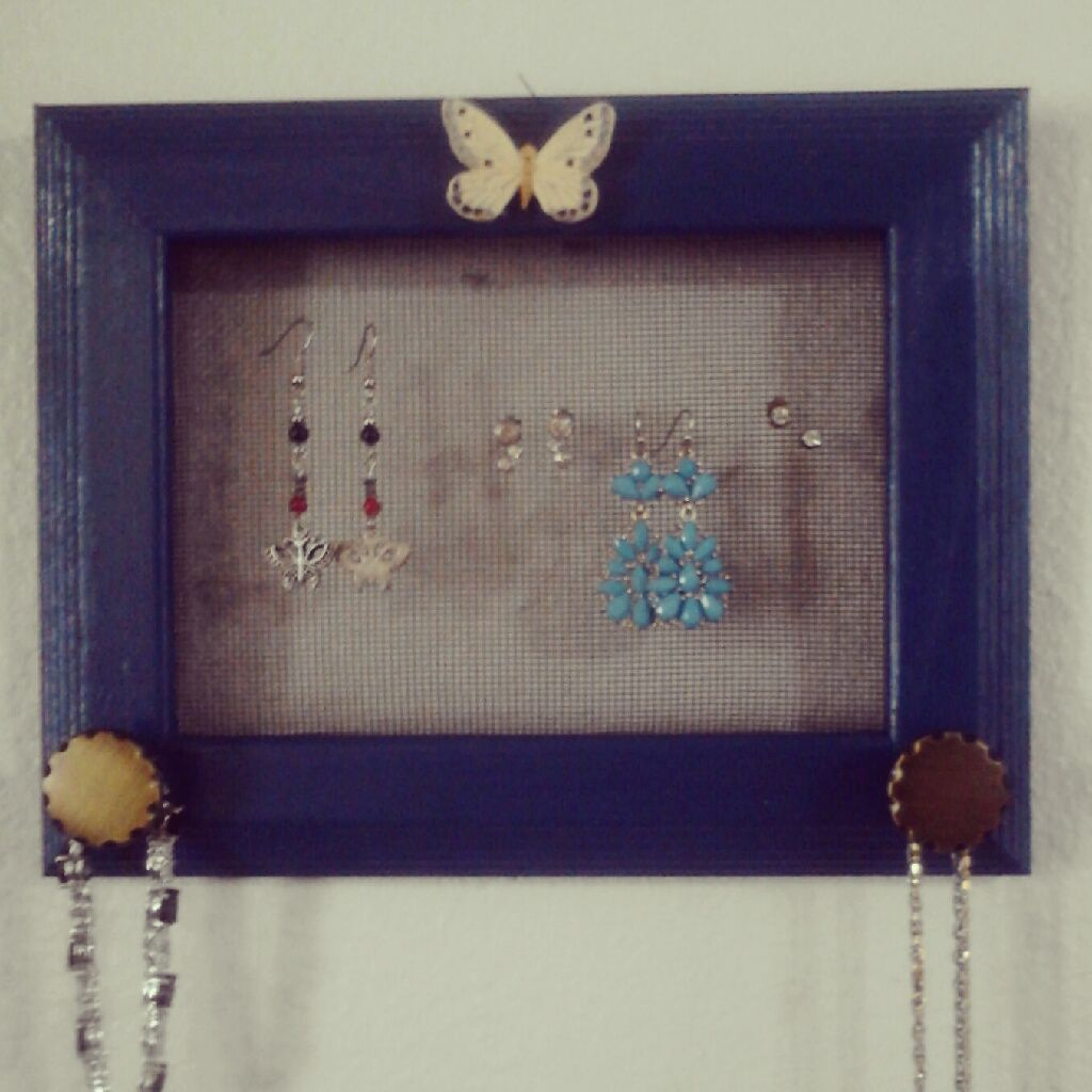 Recycled picture frame crafted to organize your jewelry! stop by my ...