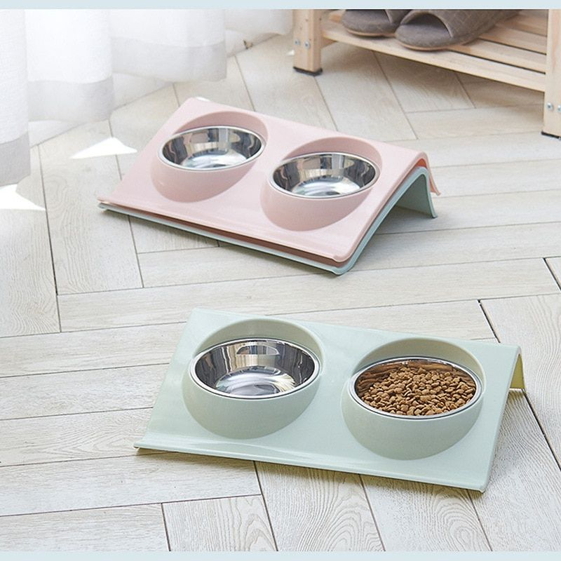 Double Pet Bowls Food Water Feeder Stainless Steel Cat Food Bowl