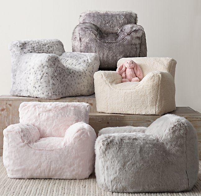 72b0f5061897 RH Baby   Child s Luxe Faux Fur Bean Bag Chair - Grey Snow Leopard The  coziness of a club chair paired with the body-hugging comfort of a bean bag.
