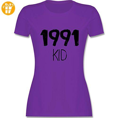 Geburtstag - 1991 KID - S - Lila - L191 - tailliertes Premium T-Shirt mit Rundhalsausschnitt für Damen (*Partner-Link)