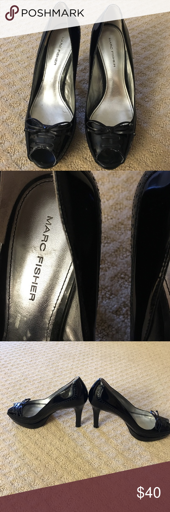 ON SALE!!!Marc Fisher Patent Leather Peeptoe Shoes Excellent condition Patent Leather Shoes Marc Fisher Shoes Heels