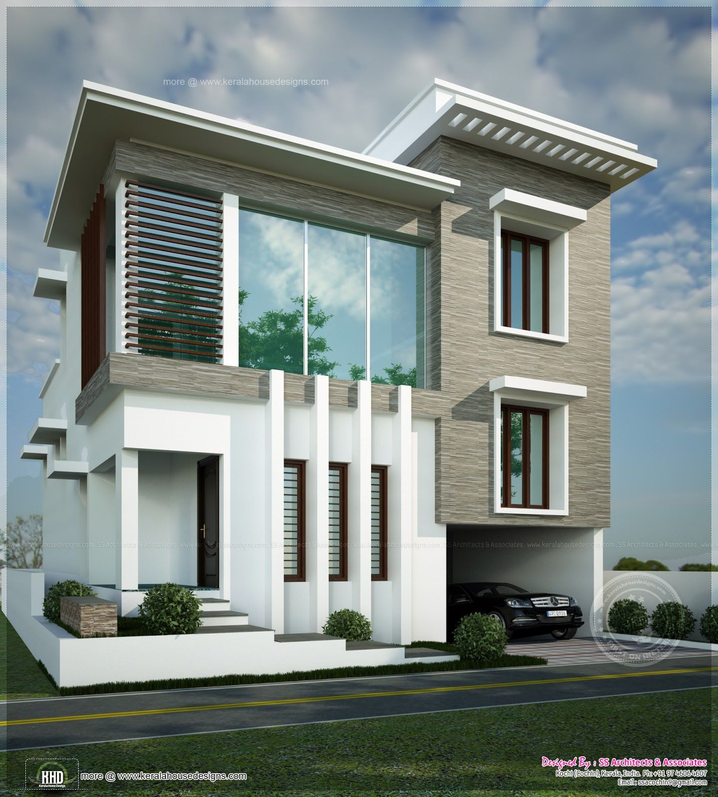 Square feet contemporary modern home kerala home design for Contemporary building elevation