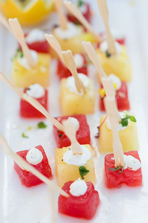 Yellow And Red Watermelon Cubes As Passed Appetizers For Your Guests