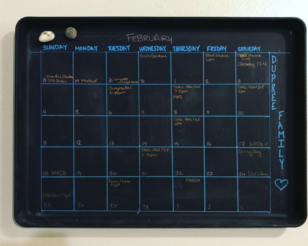 DIY Chalkboard Calendar from a cookie sheet