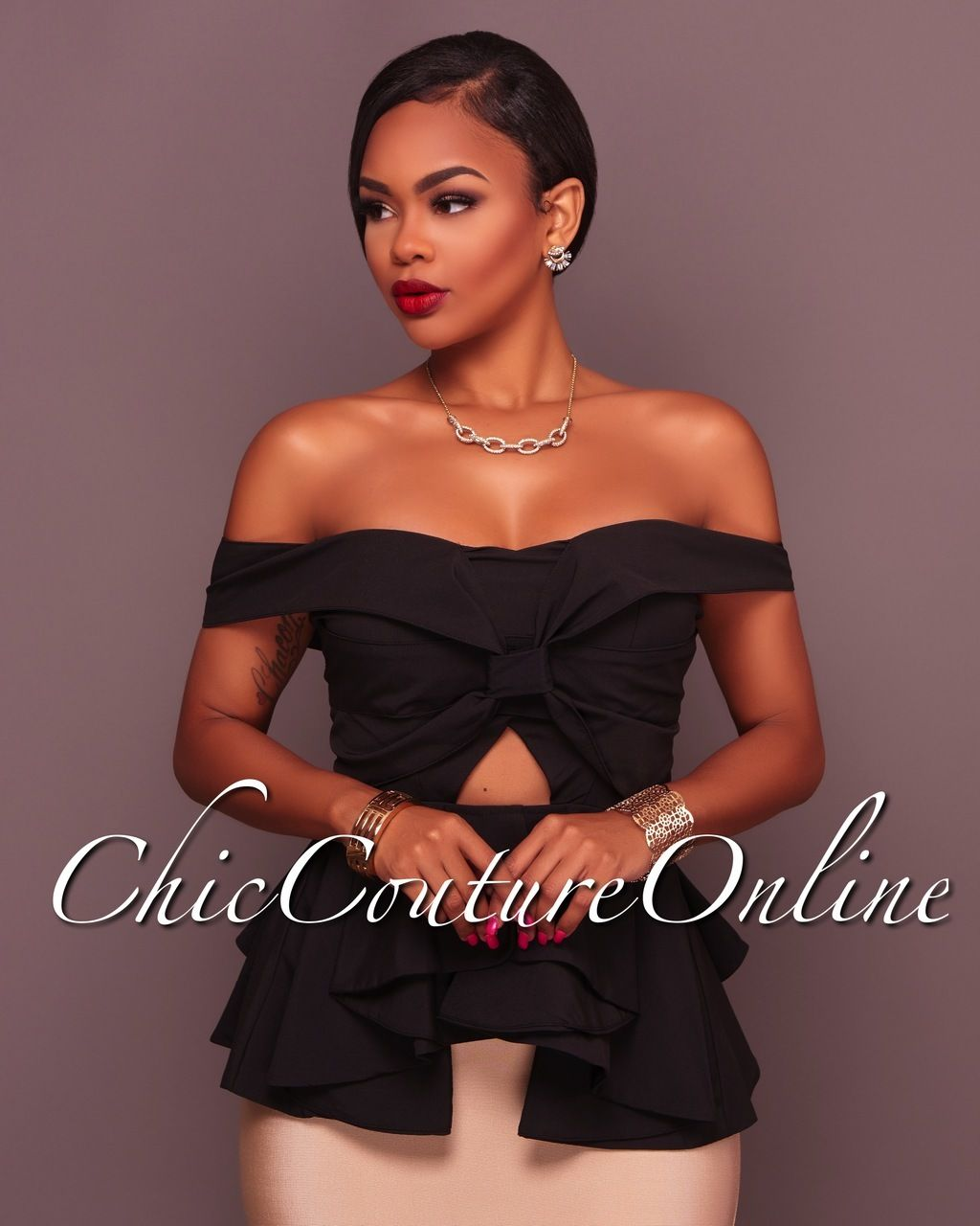 1be86b9e6c9 Chic Couture Online - Courtnie Black Off The Shoulder Ruffle Peplum Top,  (http: