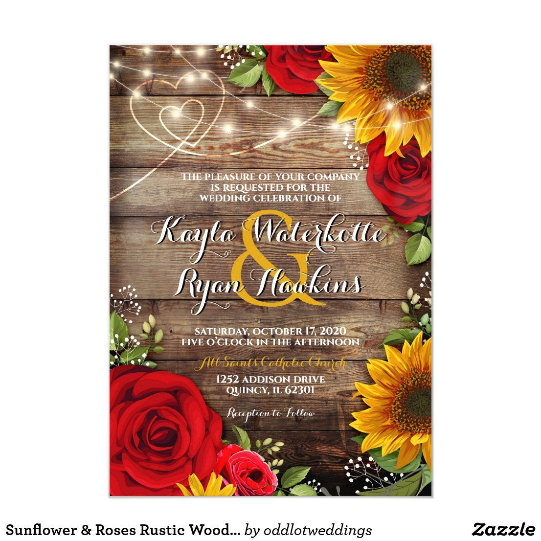 Sunflower & Roses Rustic Wood Lights Invitation Zazzle