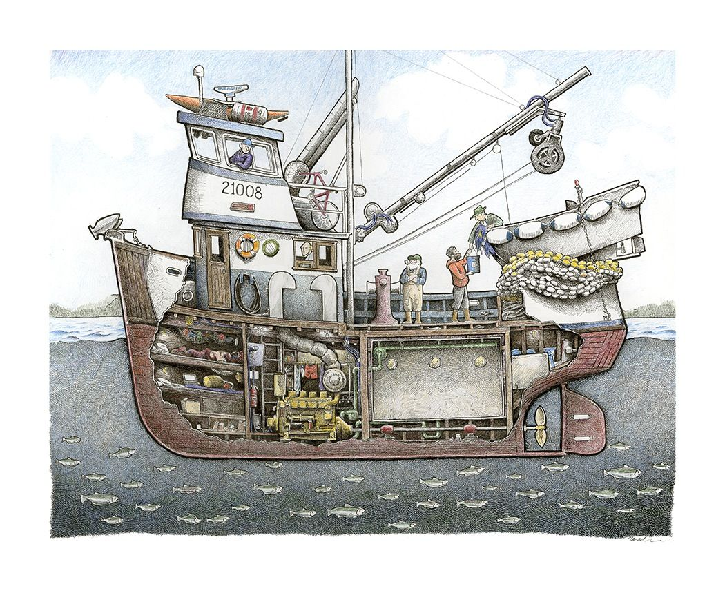 cutaway drawing of a fishing boat with every detail down. Black Bedroom Furniture Sets. Home Design Ideas