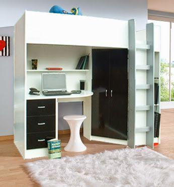 White/Black Calder bed. High Sleeper Cabin bed, includes ...