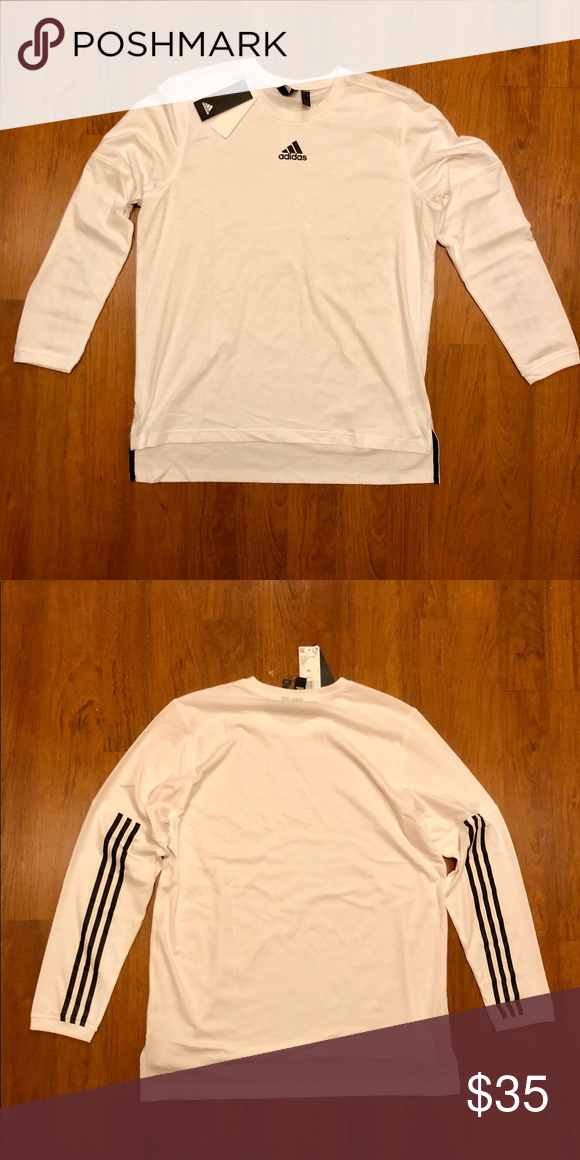 e6ffd400 Men's Adidas White Long Sleeve Tee Shirt Classic 3 stripes on back ...