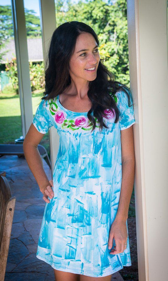 f2b032c996 Hand Painted Dress Cotton A line Cover Up Plus Size Dress Resort Wear Hawaii  Floral Dress