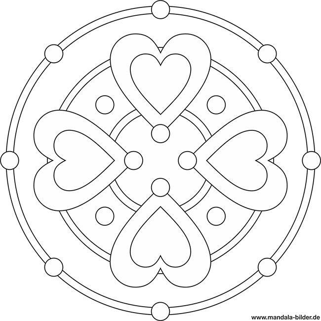 Mandala mit Herzen - Herzform | ausmalbilder | Pinterest | Herzform ...