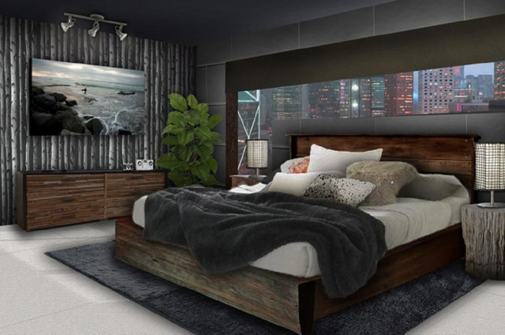 Merveilleux Young Mens Bedroom Decorating Ideas With Clasic Wood Furniture Bed And With  The Black Theme Bedroom