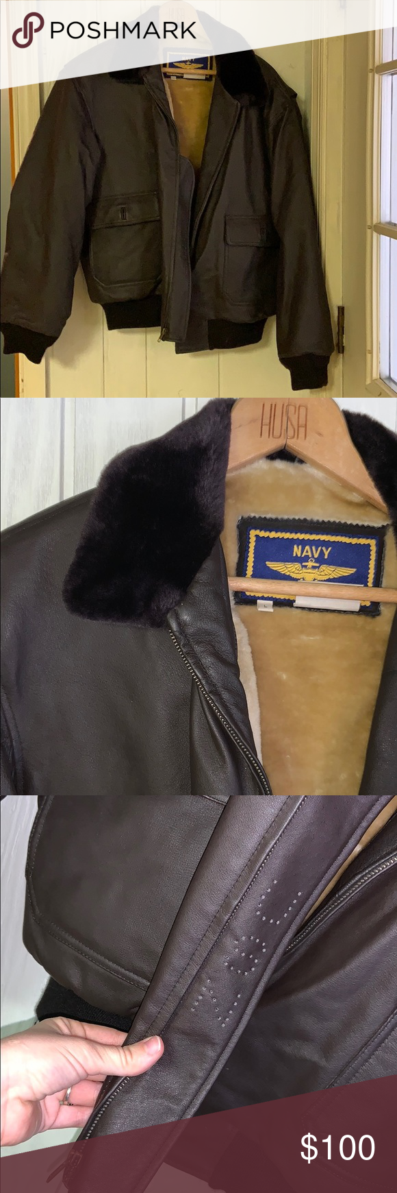 Navy Airborne Leathers Leather Jacket Excellent Used Condition Brown Leather Jacket With Lining Navy Airbo Leather Jacket Brown Leather Jacket Jackets [ 1740 x 580 Pixel ]