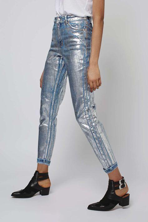 baff535d03db7f MOTO Silver Foil Mom Jeans in 2019 | fashion | Trendy jeans, Mom ...
